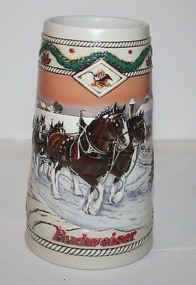 1996 Budweiser Holiday Handcrafted Stein w/ Cert. of Authent. American Homestead