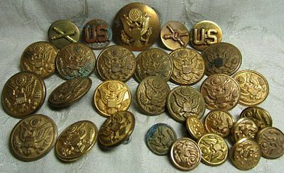 Pre-WWII Army Coastal Arty Enlisted Discs, Hat Badge, Buttons Lot Of 29
