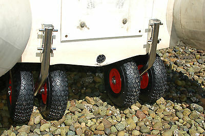 DUAL Launching Wheels for boat dinghy STAINLESS QUICK RELEASE SPRING LOADED