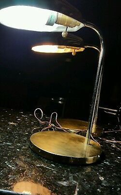 Pair of  Vintage Mid Century Modern Clam Shell table  Lamp brass and chrome