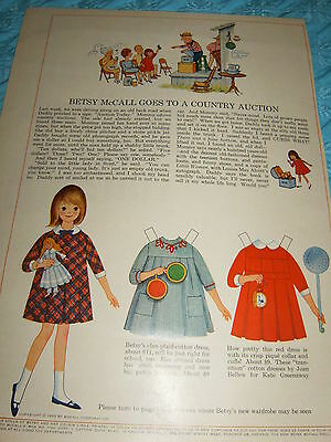 Vintage Betsy McCall Mag. Paper Doll, Betsy Goes to a Country Auction, July 1965