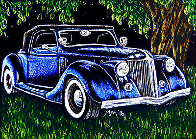 Original ACEO Scratchboard Art Vintage ROADSTER Auto Car Miniature Painting MMM