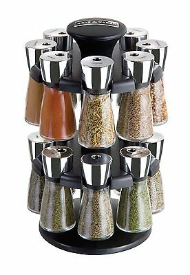 Cole and Mason Herb and Spice Carousel Rack with 16 Glass Jars and Spices - NEW!