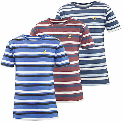 New Mens Branded Kangol Yarn Dyed Stripe Crew Neck T-shirt Casual Fashion Top