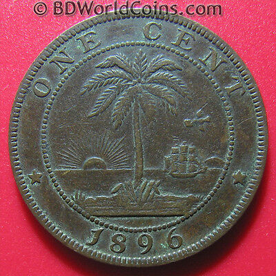 1896 LIBERIA ONE 1 CENT PALM TREE SHIP SUN LOW MINT AFRICAN COIN BRONZE 25.5mm