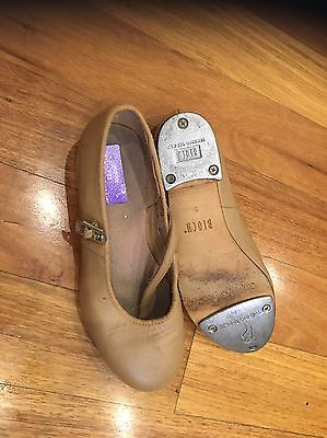 girls leather Bloch Tap Shoes Yellow Size 5 21 Cm Good Condition