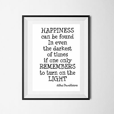 Inspirational Quote Poster Art Print A4 wall Decor gift dumbledore harry potter