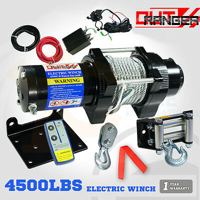 12V 4500LBS LB 2041KG Steel Cable Electric WINCH Wireless Remote 4x4 Truck