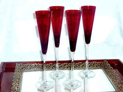 Fabulous Tall & Elegant Ruby Red Champagne Glasses Set Of 4 .