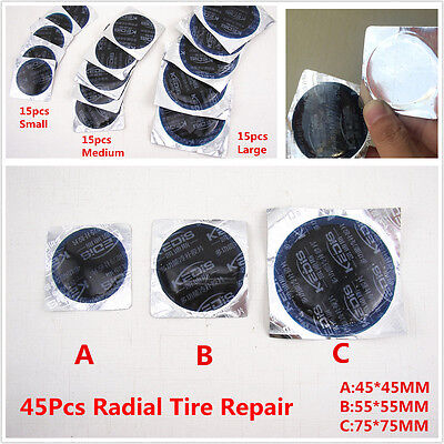 45Pcs DIY Radial Tire Repair Round Patch Tubeless Assortment SMALL MEDIUM LARGE