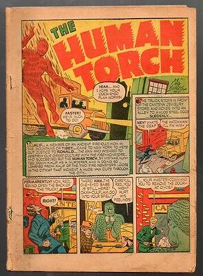 Marvel Mystery Comics #15 Incomplete w/Back Cover Human Torch Ad FREE S/H