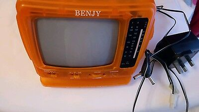 Orange Mini Television/radio- Working Radio -Television Does Not Work-Benjy