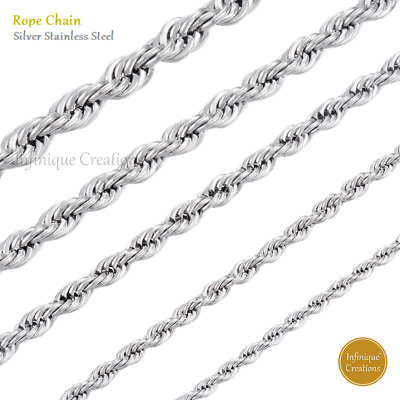 Men Women 316L Stainless Steel Silver Rope Chain Necklace Bracelet 2mm to 8mm