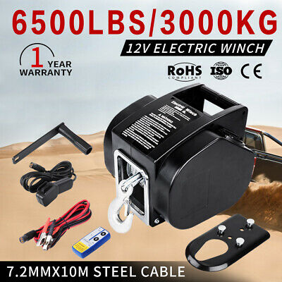 12V 6500LBS Electric Winch Boat Ship Trailer 10m Steel Cable With Remote Control