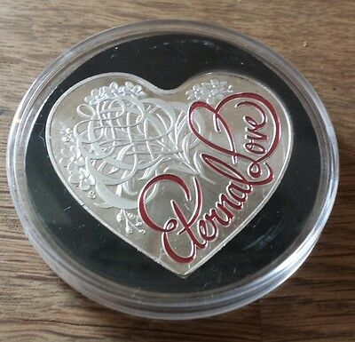Australian 5 dollar heart shaped silver plated valentines day coin.