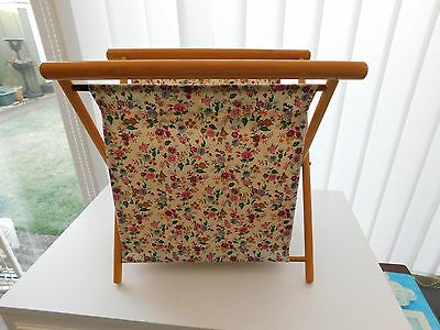 Pretty Fabric Knitting Sewing Bag On Wooden Stand