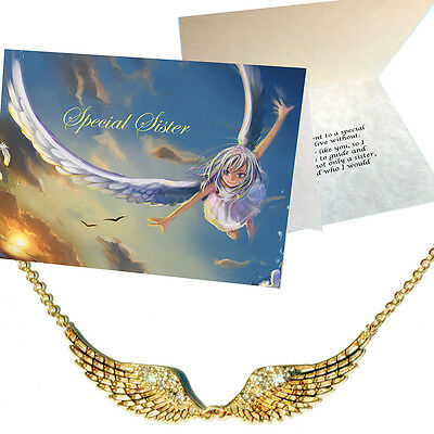 Special Sister Card & Angel Wing Pendant Nickel Silver Crystal Gold plt Xmas