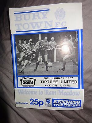 BURY TOWN  V TIPTREE UNITED  1987 ESSEX SUFFOLK BORDER LEAGUE  Programme