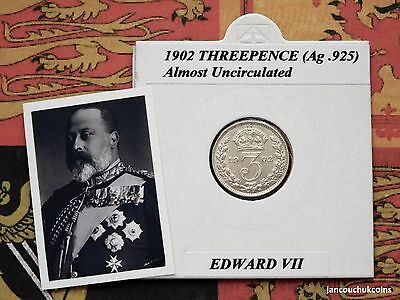 �� ALMOST UNCIRCULATED? 1902 Threepence Coin (Silver .925) Edward VII