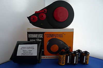 NEW FELTLESS 35mm BULK FILM LOADER KIT 25ft KODAK DOUBLE X FREE 5 EMPTY CASSETTE