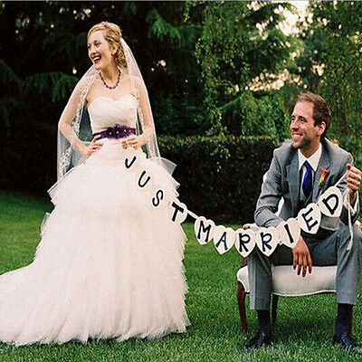 Fashion Just Married Wedding Banner Party Decoration Bunting Garland Handmade