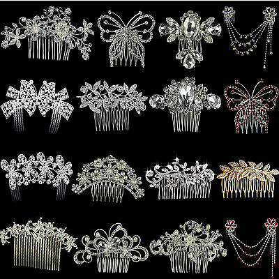 Silver Bridal Wedding Flower Crystal Diamante Hair Comb Clip Slide Fascinator UK