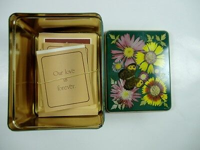 Vintage Current Tin Small Note Cards Floral /Flowers Butterfly 1983