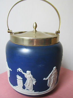 Blue and white Adams of Tunstall jasperware biscuit barrel.