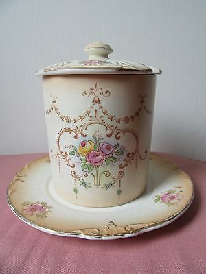 Vintage Crown Ducal blush preserve jar with lid and plate.