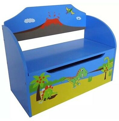 Dinosaur Large Toy Box Bench Playroom Chest Seat Kids Bedroom Furniture Blue