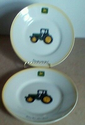"Two John Deere Salad Plates By Gibson 9"" Free Usa Shipping"
