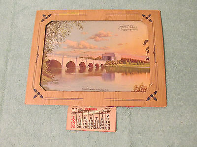 Lincoln Memorial Washington DC glass picture 1943 calendar picture Muskego WI