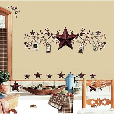 RoomMates RMK1276SCS Country Stars and Berries Peel & Stick Wall Decals, 40