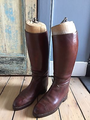 Antique Leather Riding Boots / Boot Trees.Beautiful Condition.Aprx Size 41/7.5uk