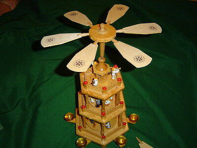 German Style Wooden 3 Tiered Christmas Carousel-Nativity  Pyramid  WITH BOX.