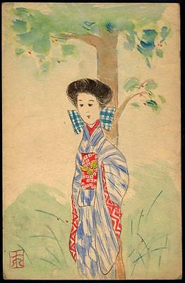 JAPAN Art Postcard - The Maiden, Geisha Under the Tree - Hand-painted -Signed