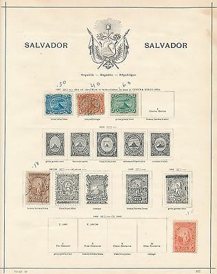 1867 - 1897 El Salvador 8 OLD ALBUM PAGES AS SHOWN, CAT VALUE $110+