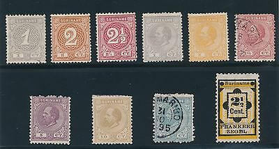 Surinam (1873-92) **10 DIFFERENT VERY EARLY ISSUES** CAT VALUE $50+