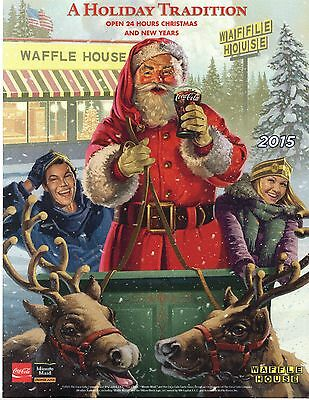 COCA COLA SANTA WAFFLE HOUSE ADVERTISMENT PICTURE  2015 AD  COKE reindeer