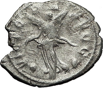 GALLIENUS 258AD Milan Authentic Ancient Silver Roman Coin Victory Nike i58537