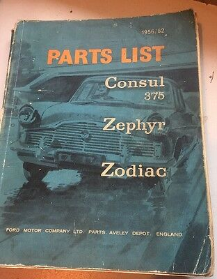 Ford Parts List For Consul Zephyr And Zodiac 1956/62
