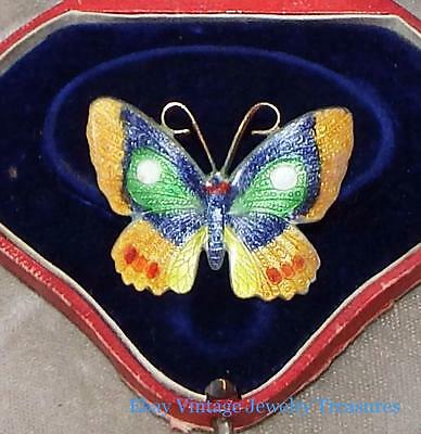 Antique Chinese Export Gold Gilt Multi Color Enamel Butterfly Design Pin #3