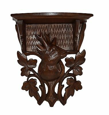 French Black Forest Carved Wood Console Bracket Shelf - Stag Head
