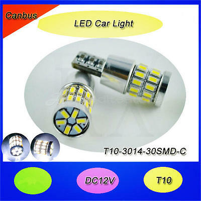 2x T10 3014 W5W 30SMD 194 168 LED White Car Side Wedge Tail Light Lamp 12 x 32mm