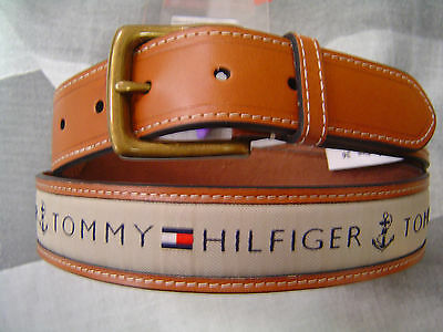 Tommy Hilfiger Men's Casual Belt Tan With Khaki Cotton Logo Inlay