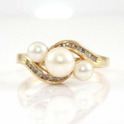 Solid 14K Yellow Gold Natural Diamond Pearl Ring Size 7.75