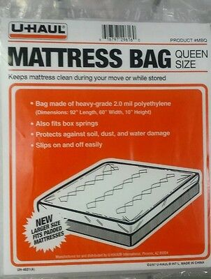 New in Package U-HAUL Moving Queen Size Mattress Bag Plastic Cover Heavy 2.0 mil