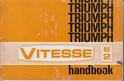 Triumph Vitesse 2-Litre Mk2 Saloon Cabrio Orig. 1969 Owners Instruction Handbook