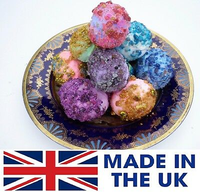 6 LARGE Lush Smelling GEMS FIZZY Bath Bombs COATED IN SEMI PRECIOUS STONES SALE