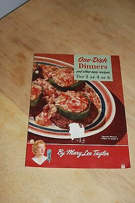 Vintage 1949 Mary Lee Taylor One Dish Dinners Advertising Cookbook